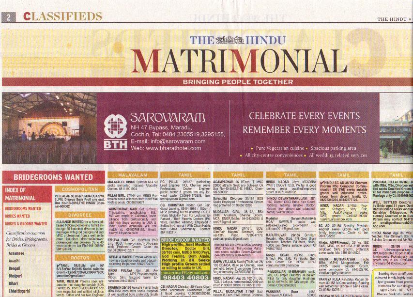 Ejemplo de Columna de Clasificados para buscar Matrimonio